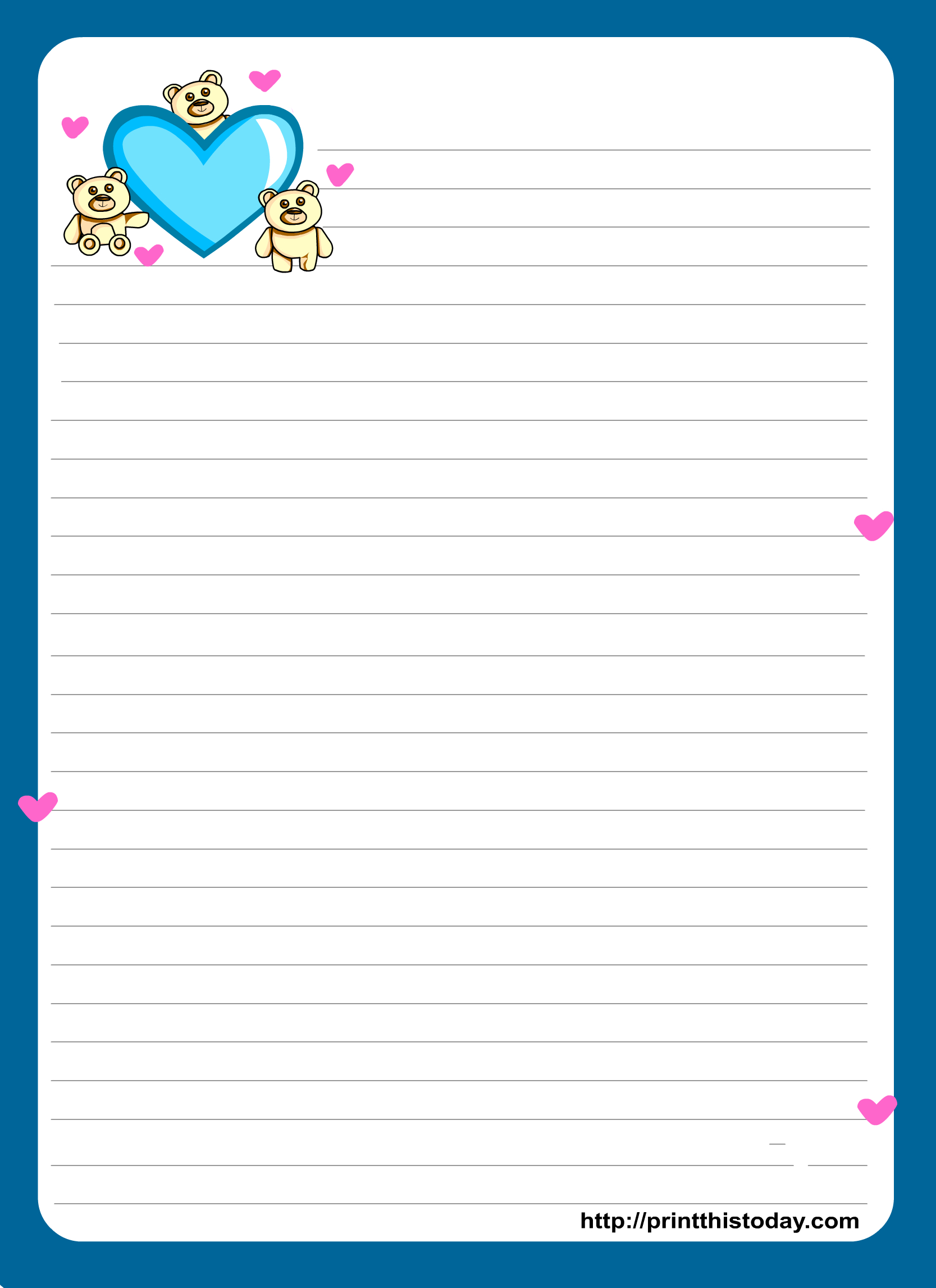 Miss You Love Letter Pad Stationery   Lined Stationery   Free - Free Printable Lined Stationery