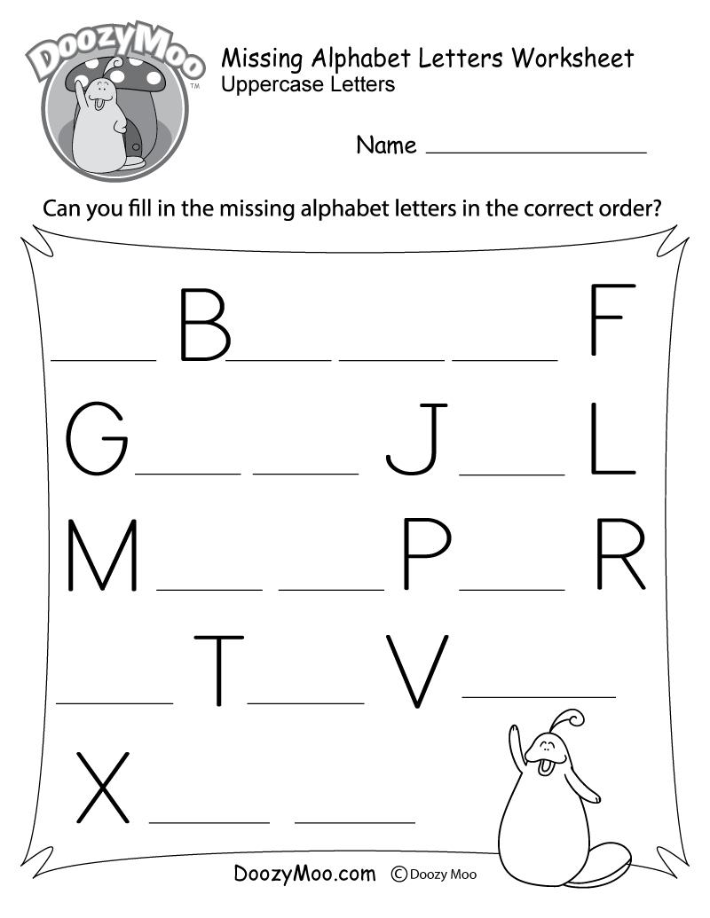 Missing Alphabet Letters Worksheet (Free Printable) - Doozy Moo - Free Printable Alphabet Pages