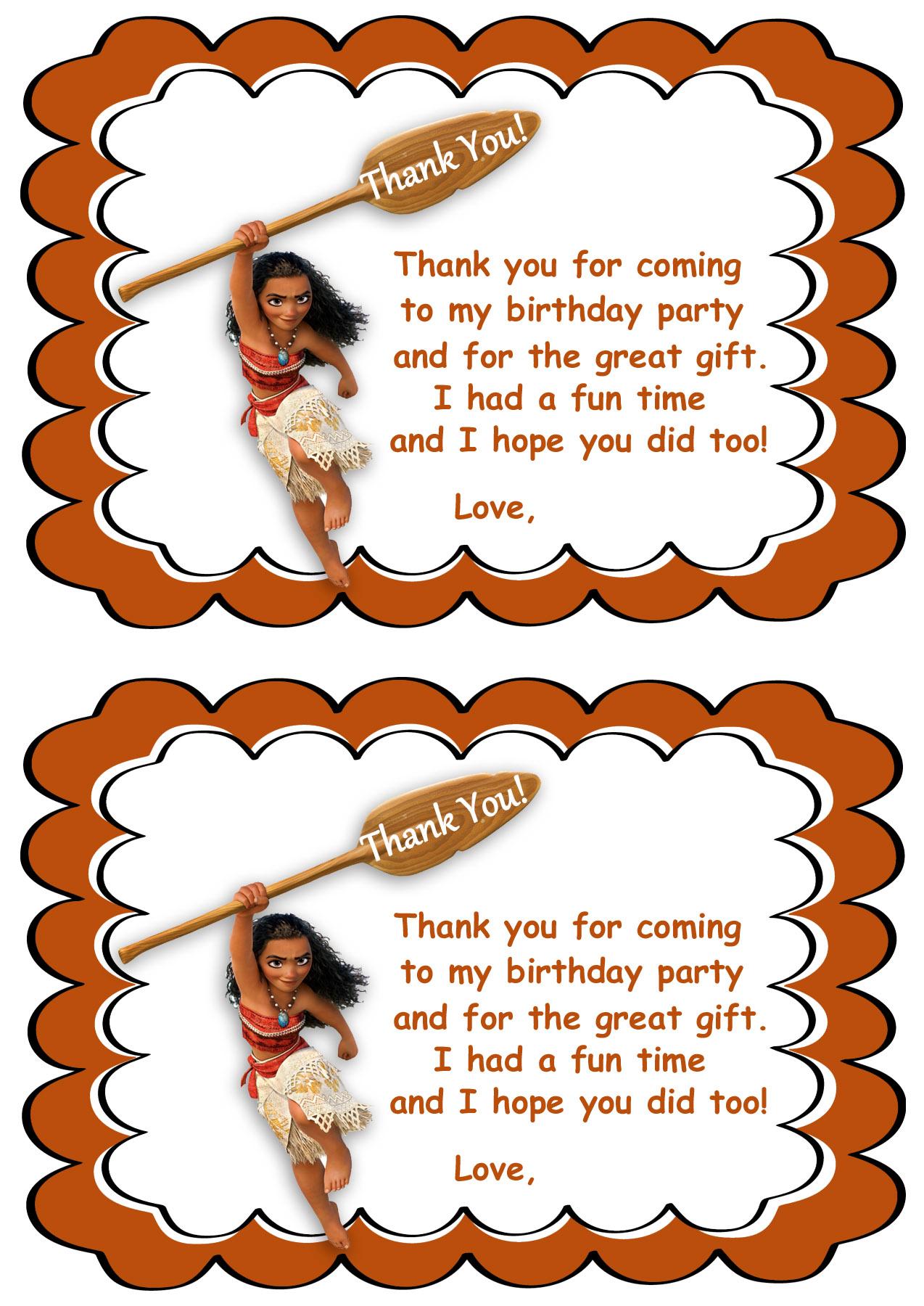 Moana Thank You Cards | Birthday Printable - Free Printable Thank You Tags For Birthdays