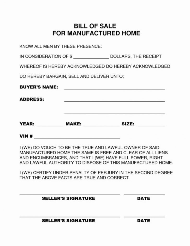 Free Printable Mobile Home Bill Of Sale