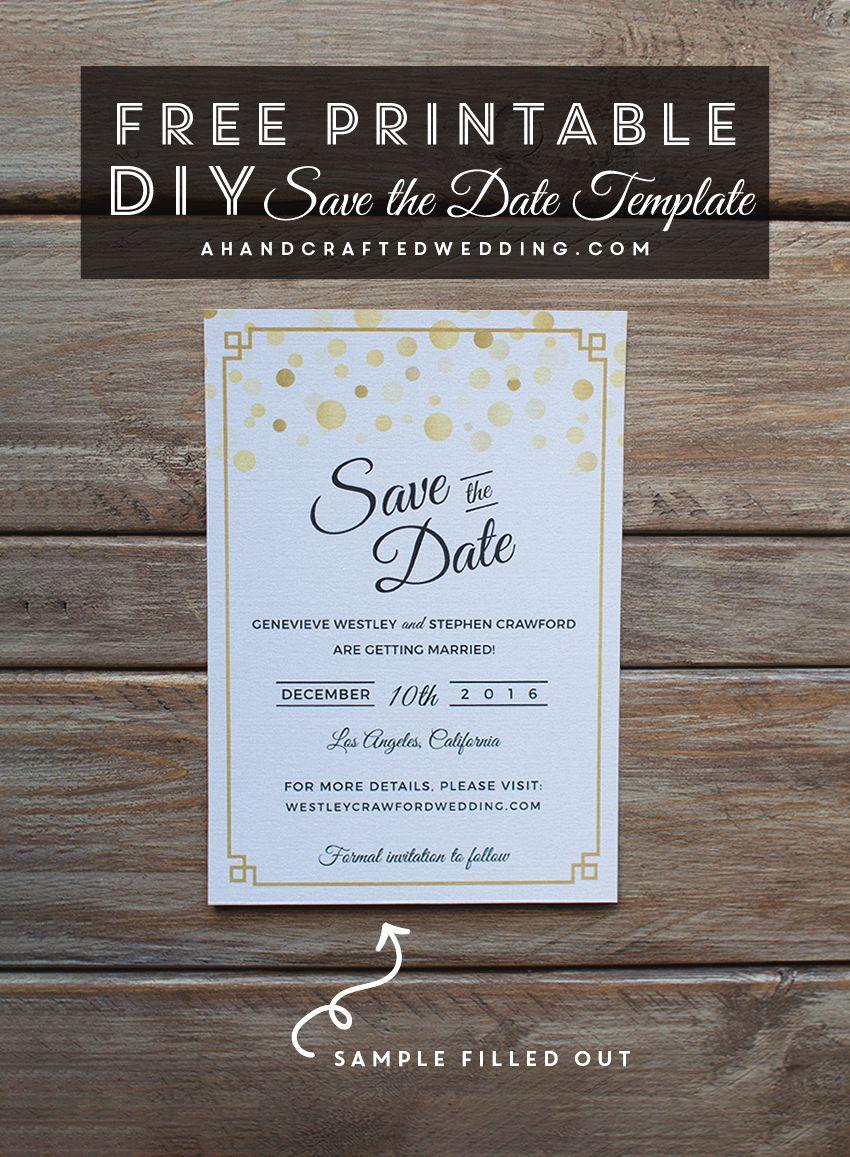 Modern Diy Save The Date Free Printable | | Free Wedding Printables - Free Printable Save The Date