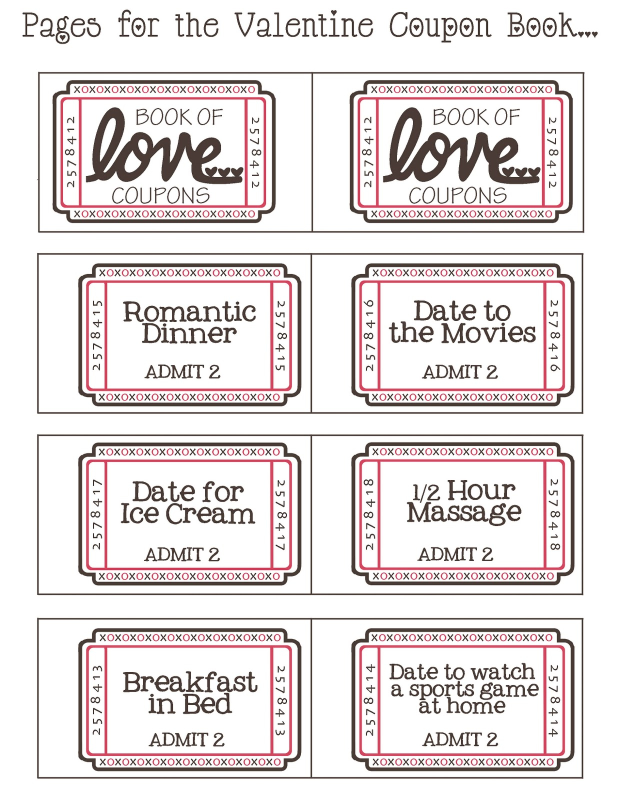 Mommyday Crafternight: {Free Printable} Valentine Coupon Book - Free Printable Coupons For Husband