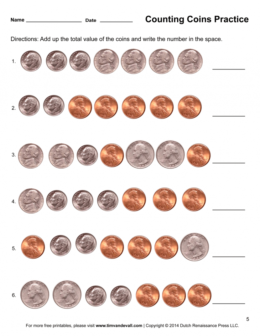 Money Worksheets For Kindergarten For Printable - Math Worksheet For - Free Printable Money Worksheets For Kindergarten