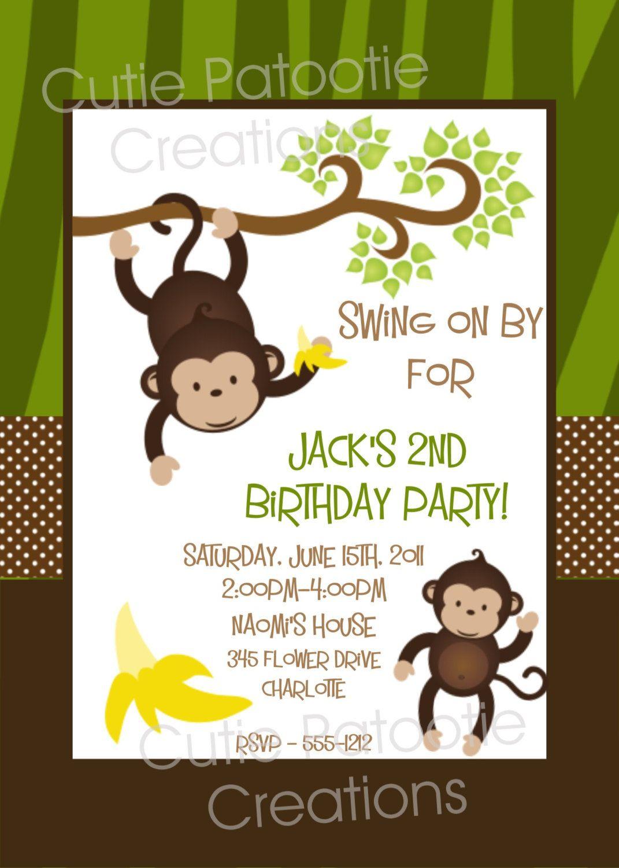 Monkey Birthday Invitation Monkey Birthday Party Invitation - Free Printable Monkey Birthday Party Invitations