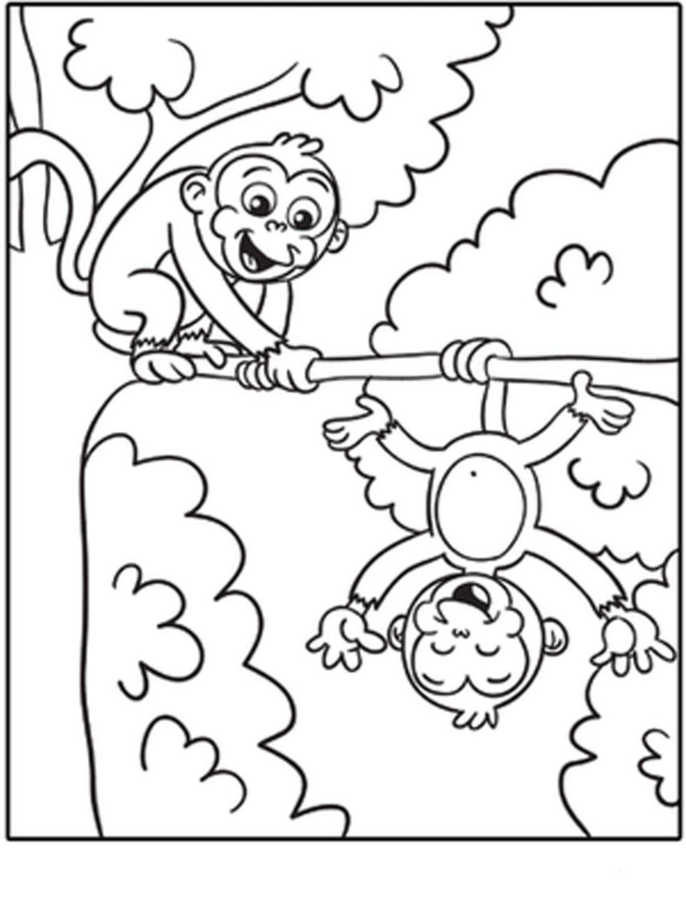 Monkey Printable Coloring Pages 3 #24104 - Free Printable Monkey Coloring Sheets