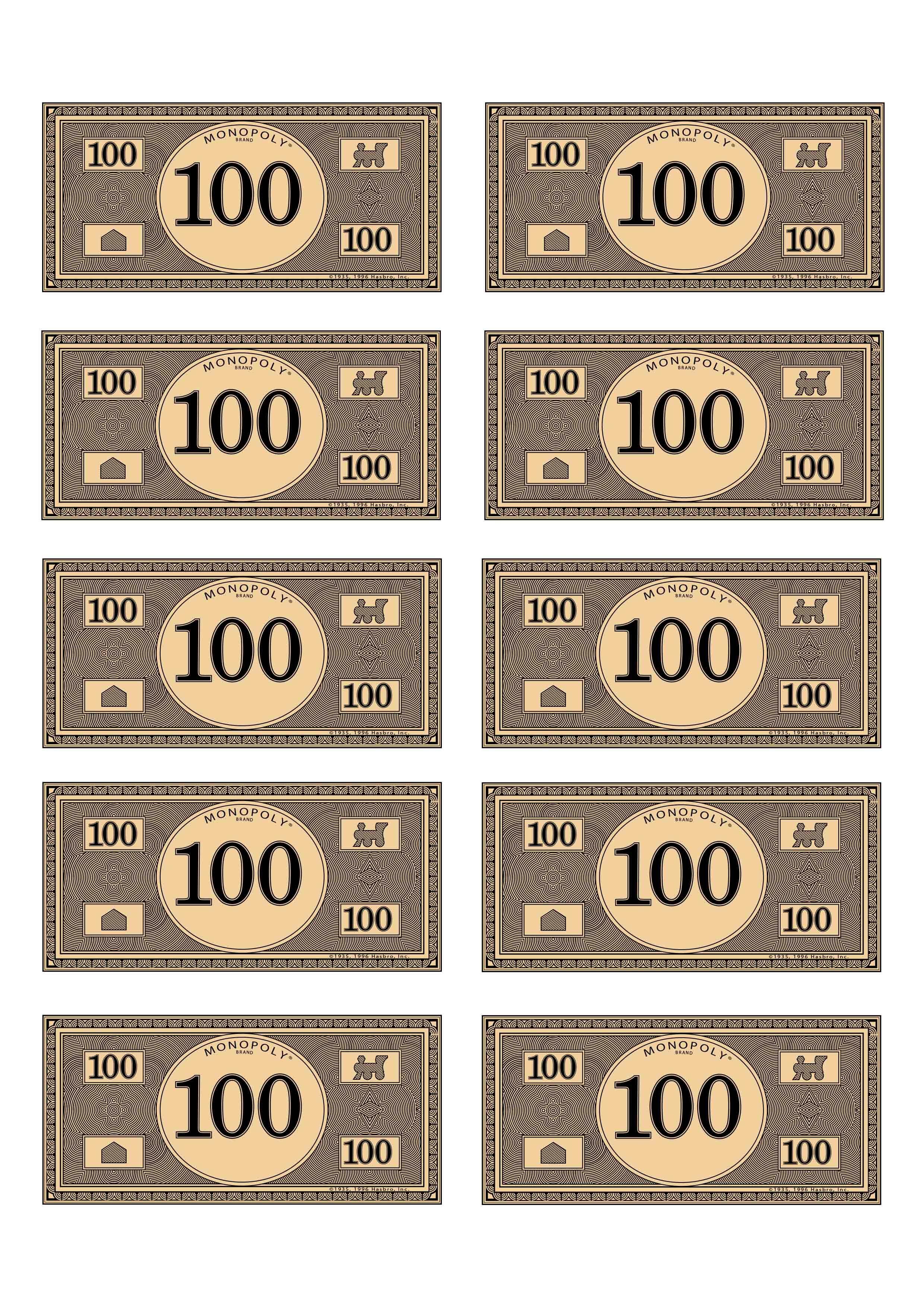 Monopoly Money 100   Budget$   Pinterest   Monopoly Money, Money - Free Printable Money