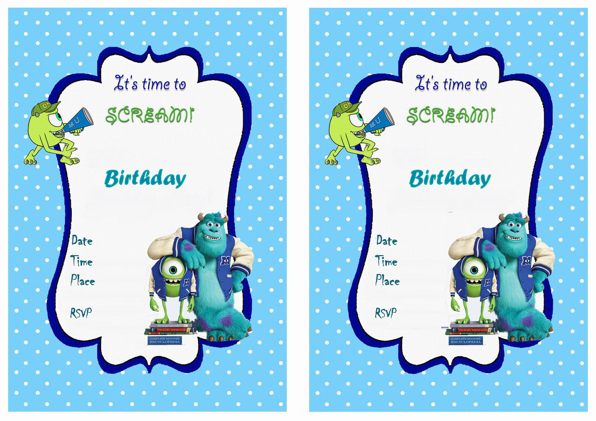 Monsters University Birthday Invitations | Birthday Printable - Free Printable Monsters Inc Birthday Invitations
