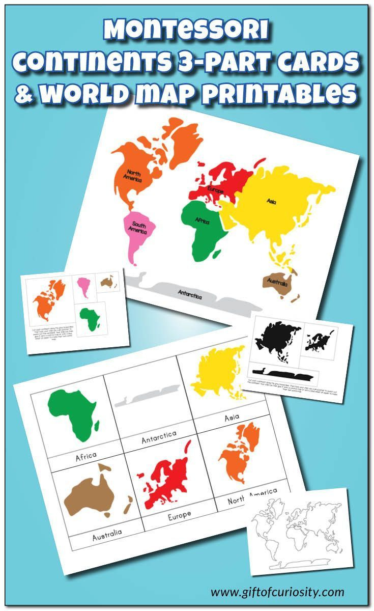 Montessori Continents 3-Part Cards And World Map Printables - Montessori World Map Free Printable