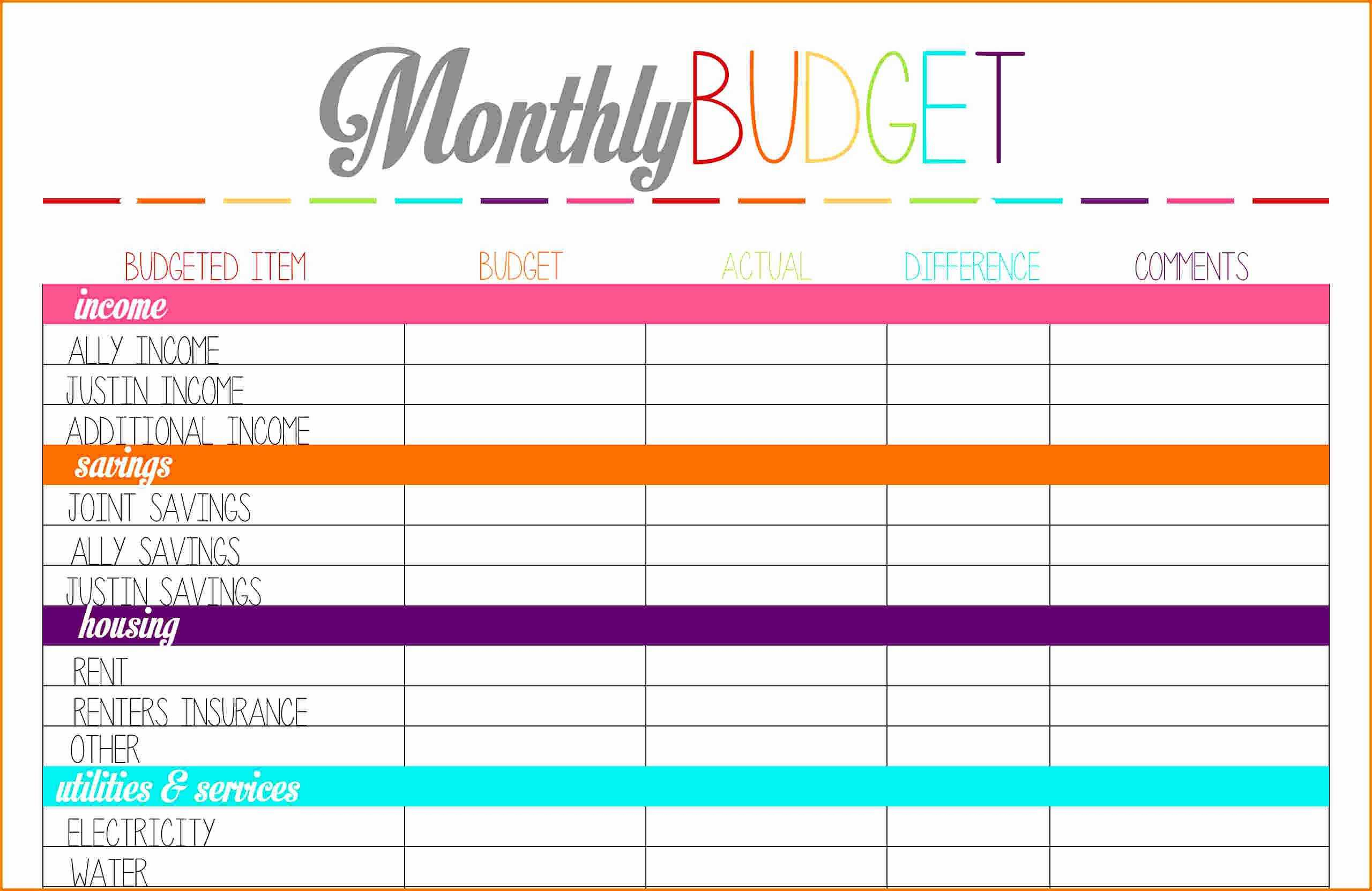 Monthly Budget Sheet Template Free With Financial Planning - Free Printable Finance Sheets