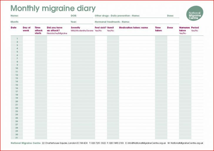 Free Printable Headache Diary
