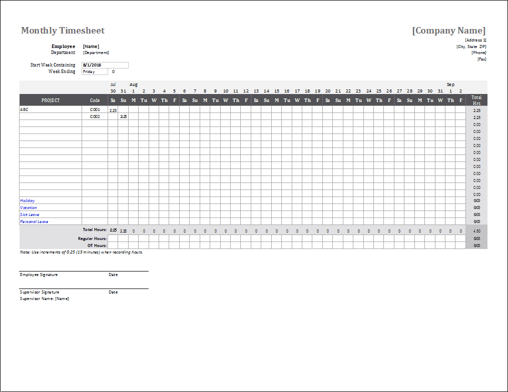 Monthly Timesheet Template For Excel - Free Printable Time Tracking Sheets