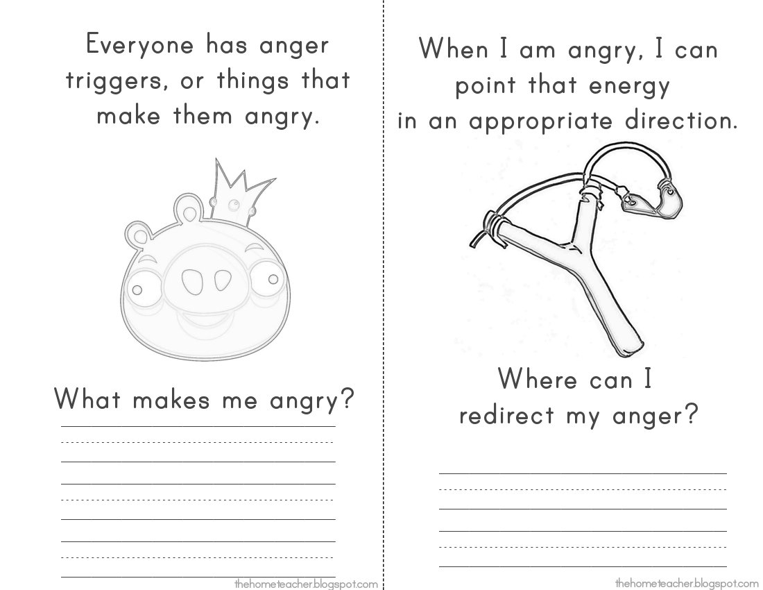 """More """"don't Be An Angry Bird"""" Printables - The Home Teacher - Free Printable Anger Management Activities"""