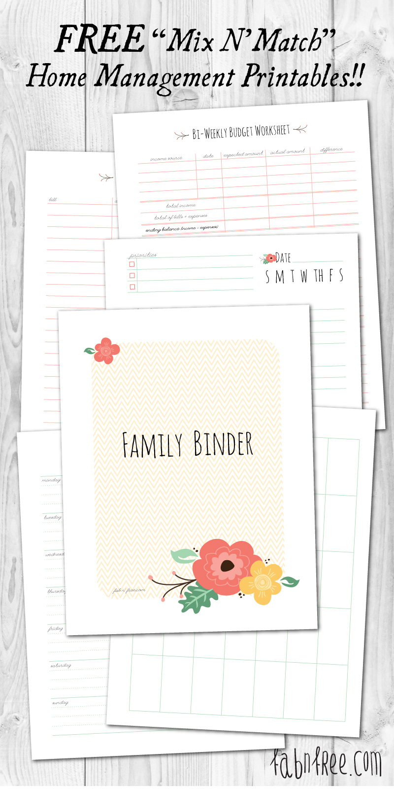 More Than 200 Free Home Management Binder Printables | Fab N' Free - Free Printable Household Binder