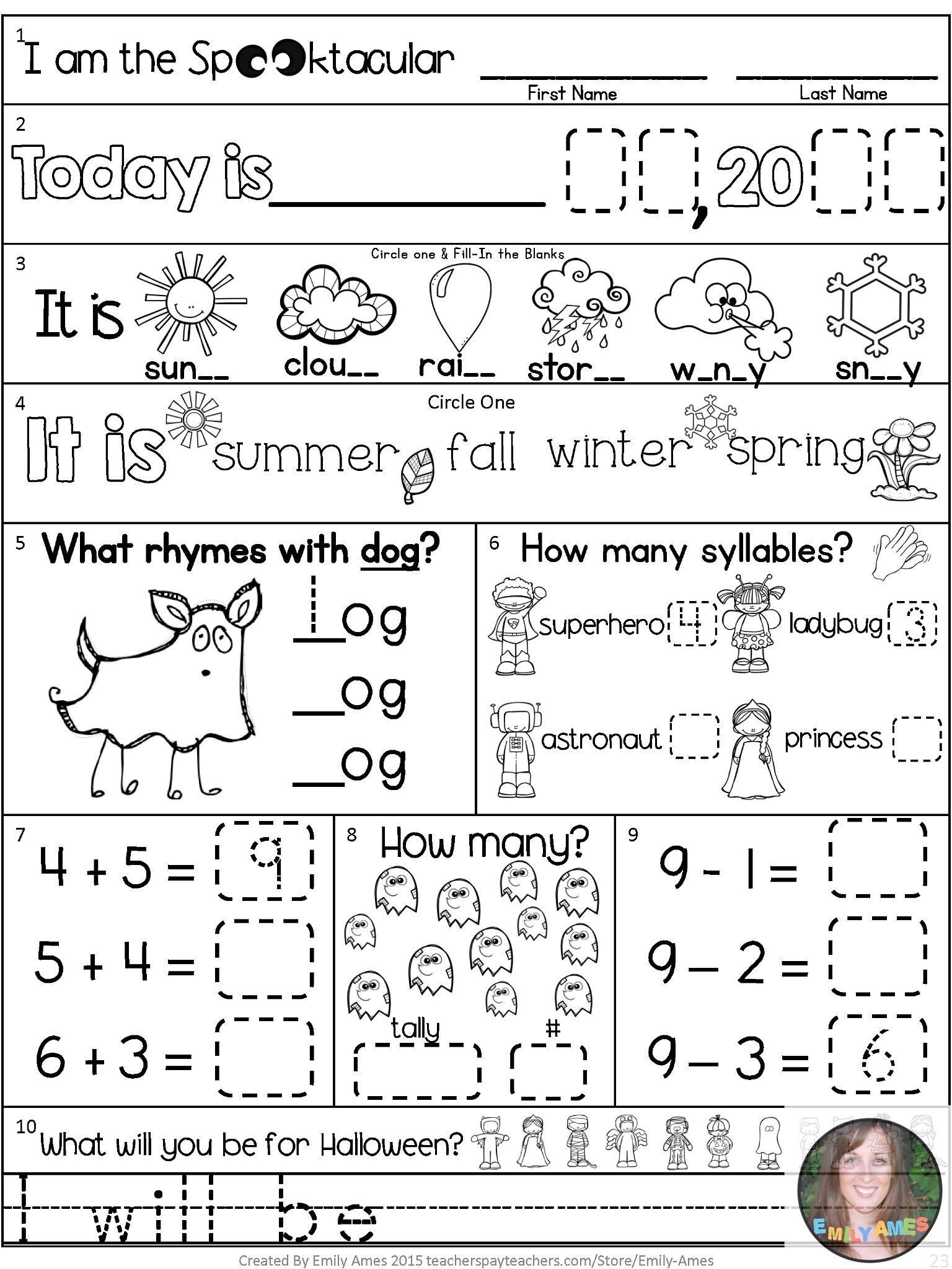 Morning Work-October First Grade Packet | Ela Elementary | Pinterest - Free Printable 4Th Grade Morning Work