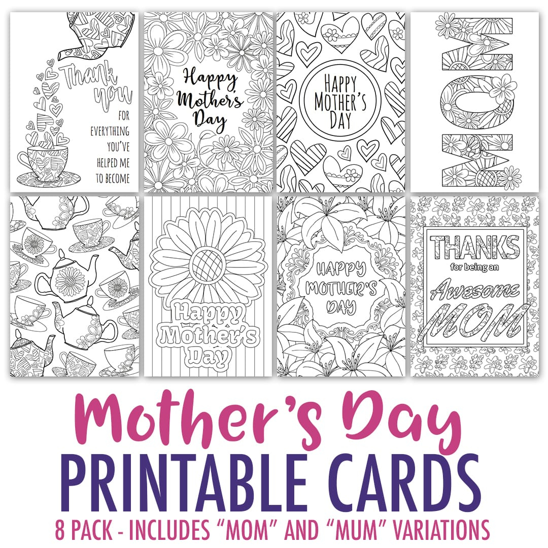 Mother's Day Coloring Cards | 8 Pack - Sarah Renae Clark - Coloring - Free Printable Mothers Day Cards