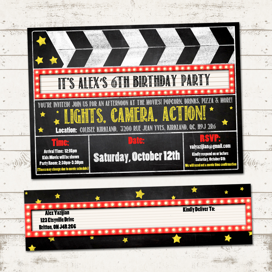 Movie Birthday Party Invitation With Wrap Around Address Labels - Movie Birthday Party Invitations Free Printable