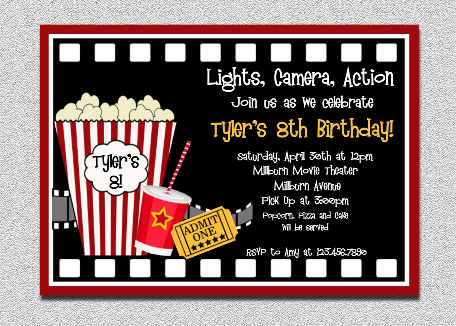 Movie Birthday Party Invitations Movie Birthday Party Invitations - Free Printable Movie Themed Invitations