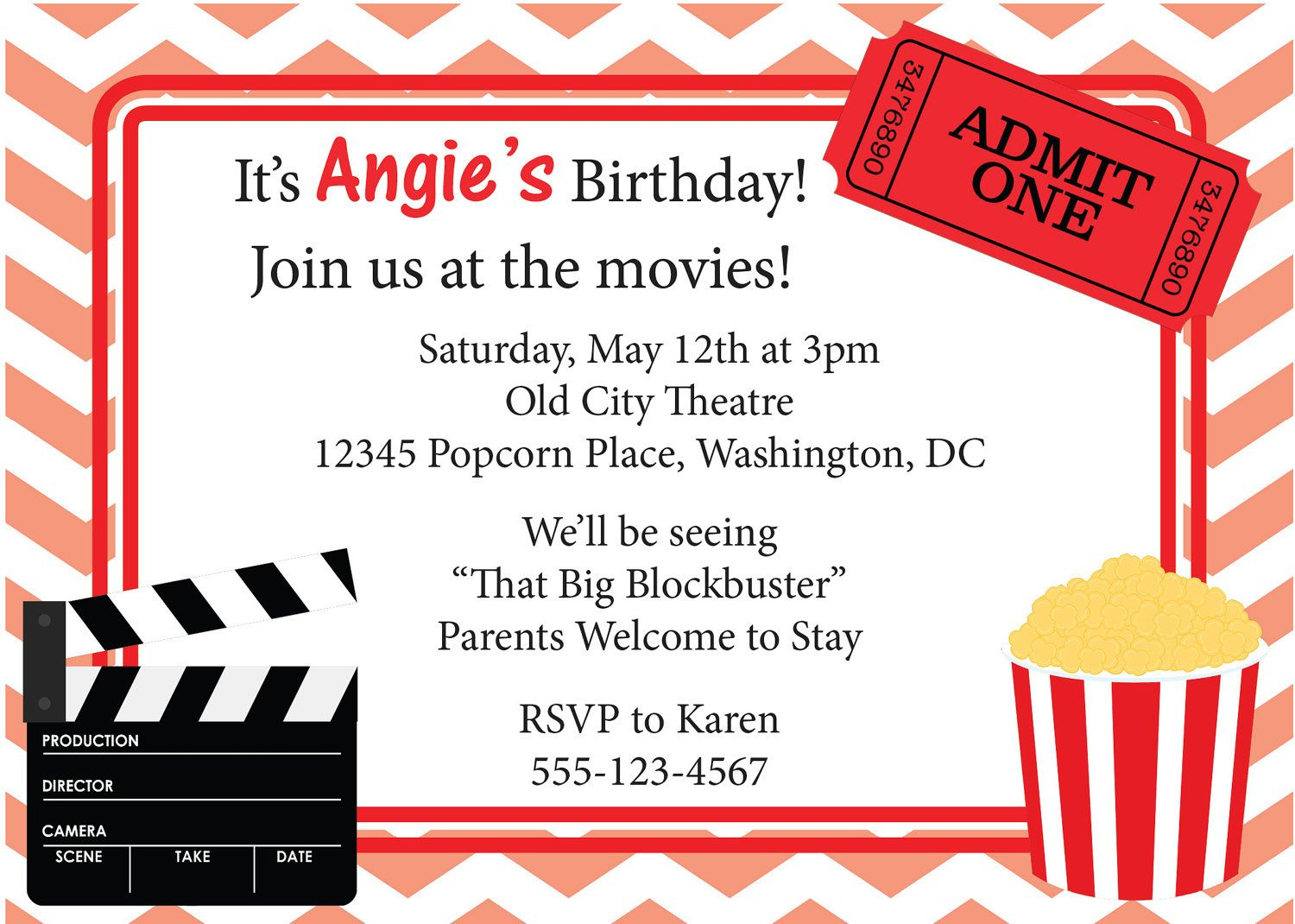Movie Night Invitation Birthday Invite Diy Printable. $8.00, Via - Movie Birthday Party Invitations Free Printable