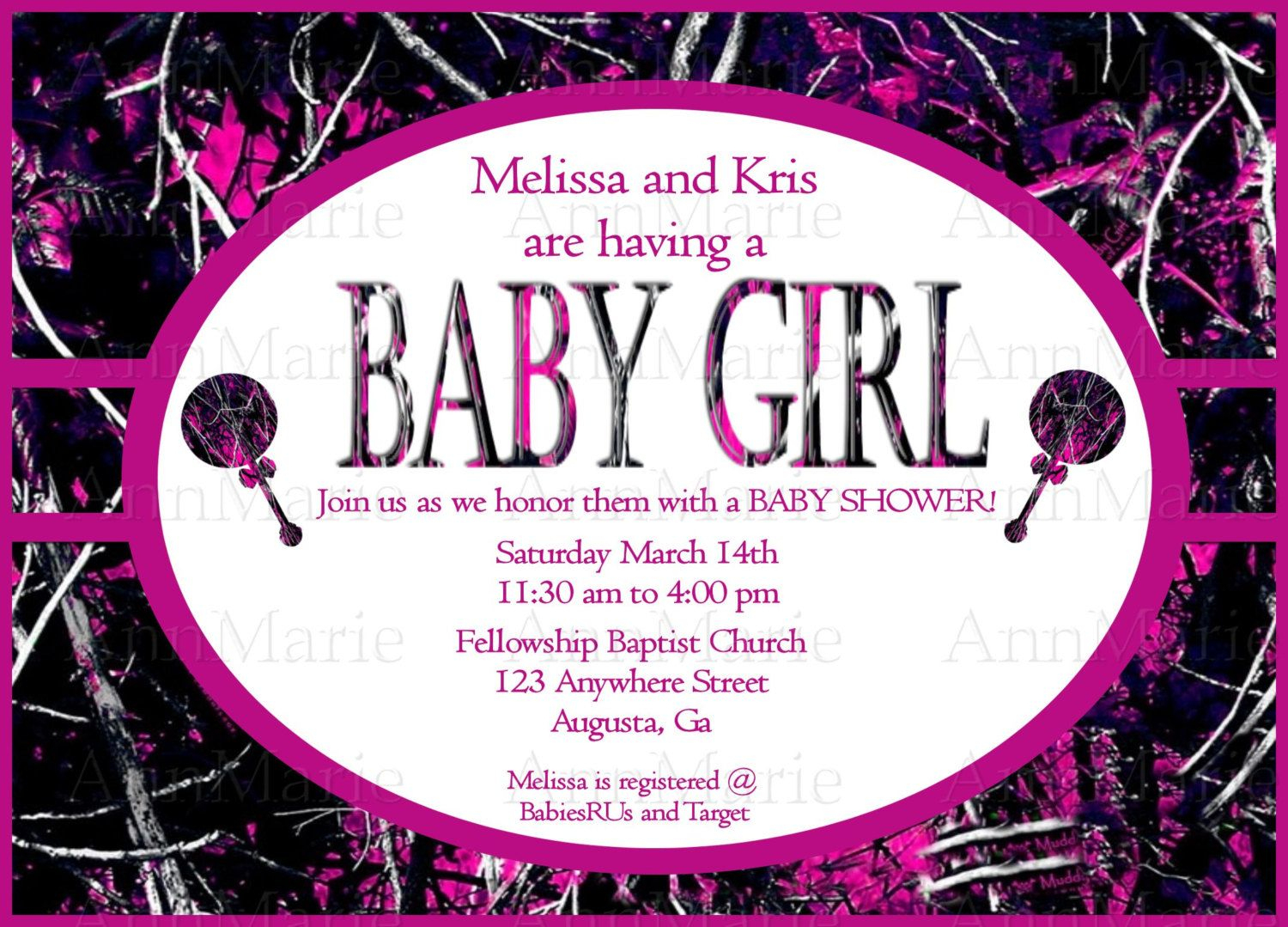 Muddy Girl Camo Baby Girl Shower Invitation, Pink Muddy Girl Baby - Free Printable Camo Baby Shower Invitations