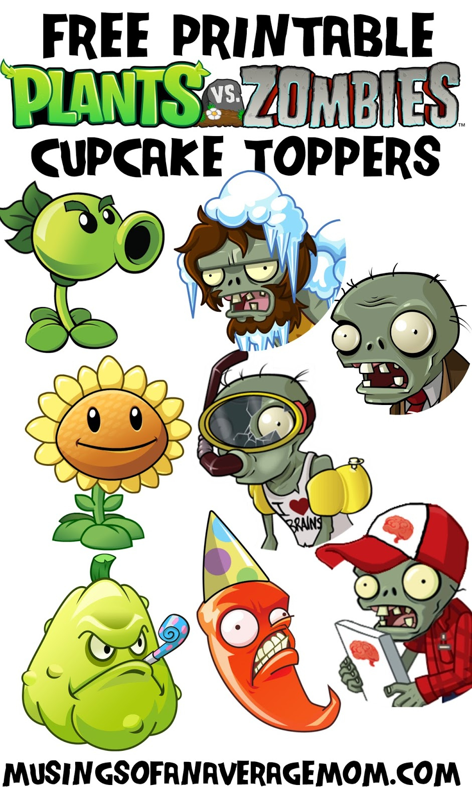 Musings Of An Average Mom: Plants Vs. Zombies Cupcake Toppers - Plants Vs Zombies Free Printable Invitations
