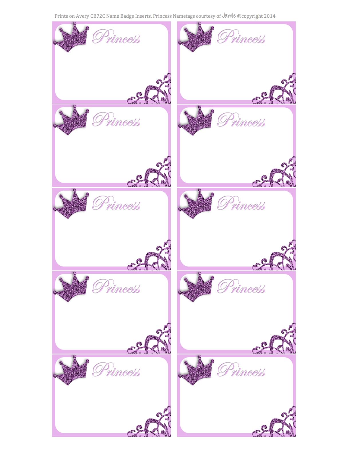 My Fashionable Designs: Princess Nametags Or Labels - Free Printable - Free Printable Name Tags