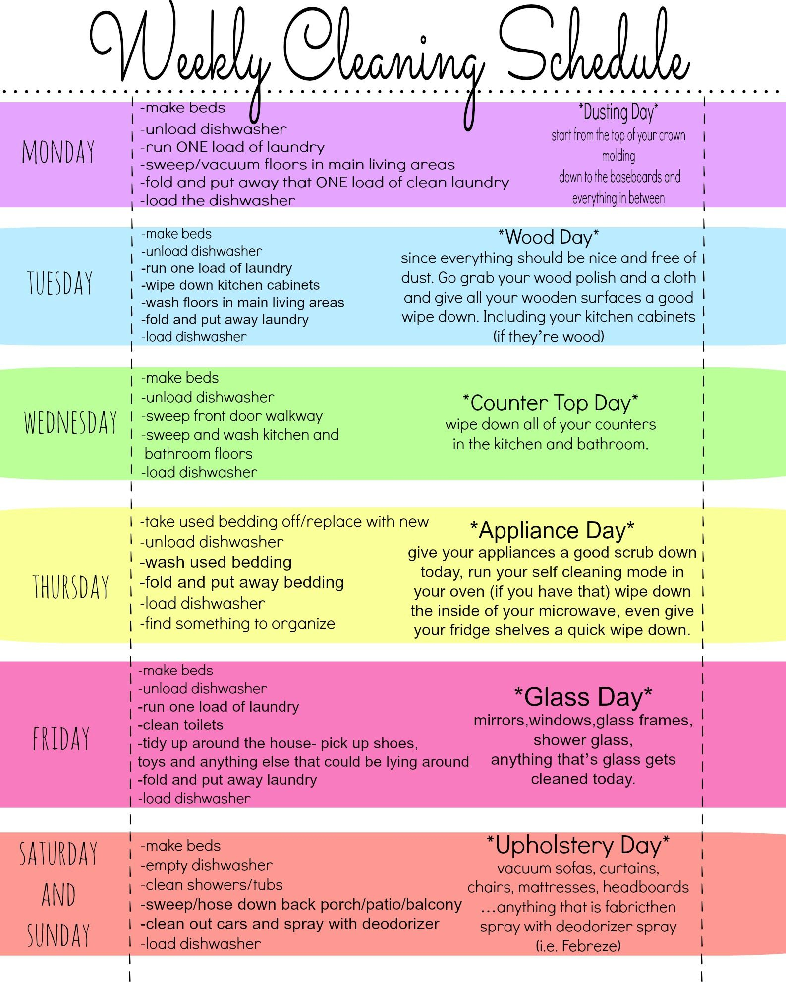 My Quirky Weekly Cleaning Chart: Free Printable | Cleaning Tips - Free Printable Housework Checklist