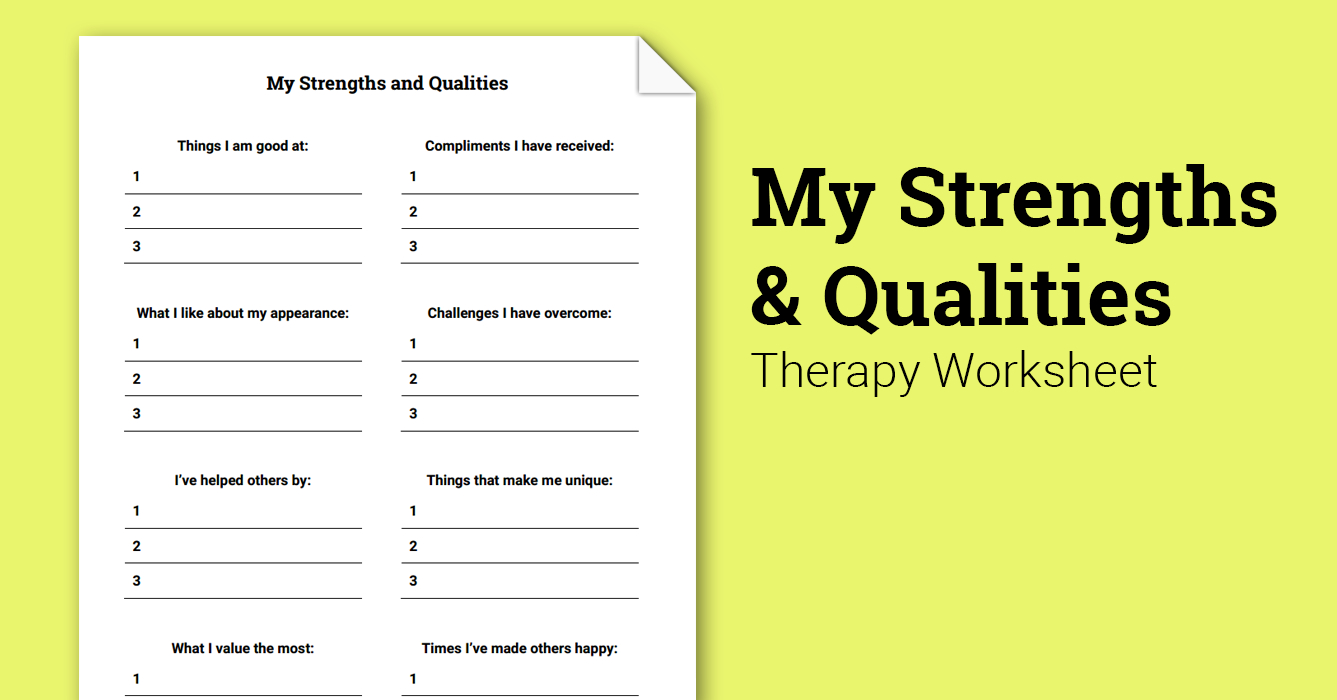 My Strengths And Qualities (Worksheet) | Therapist Aid - Free Printable Therapy Worksheets
