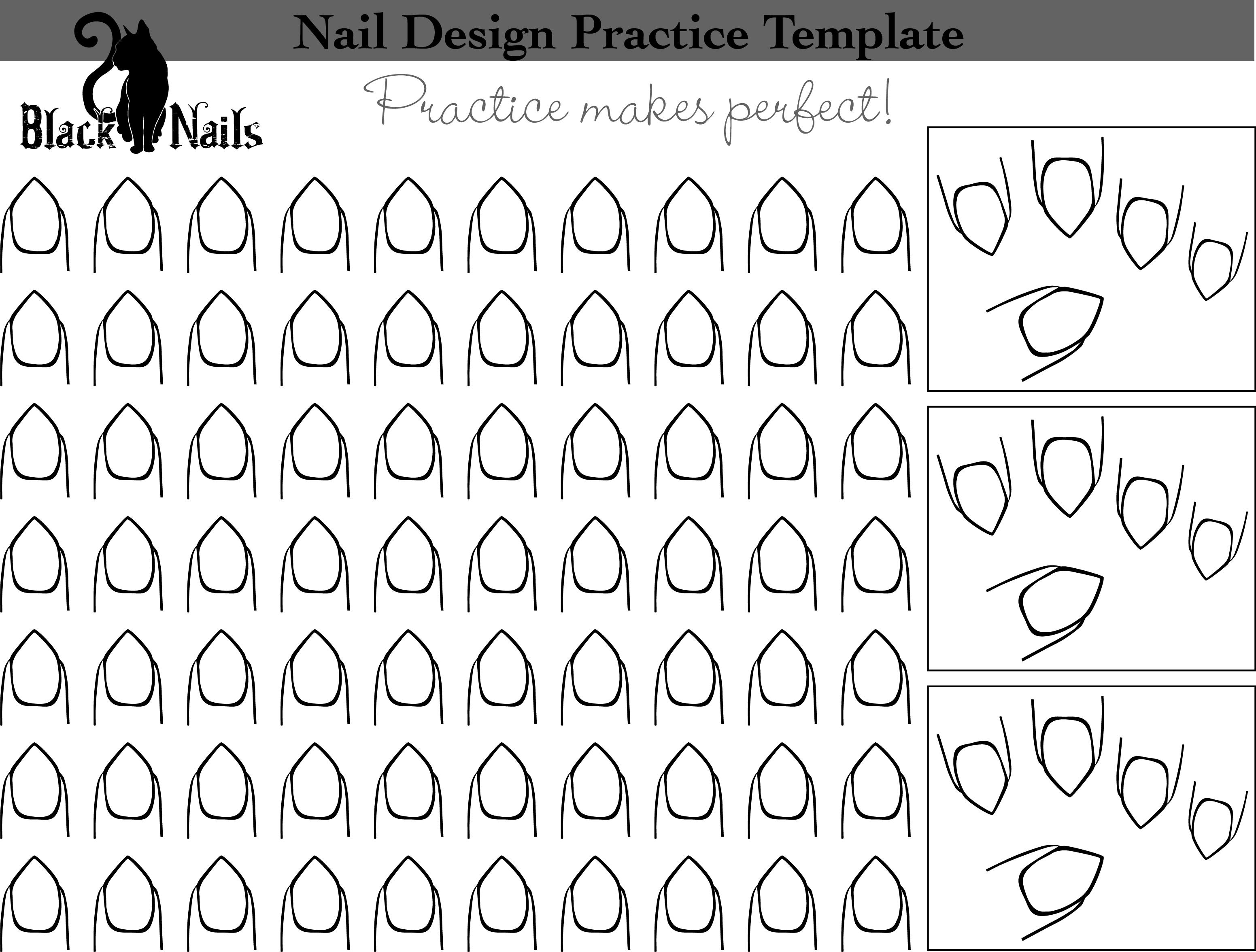 Nail Art Design Practice Templates Or Sheets - All Versions | Black - Free Printable Nail Art Designs