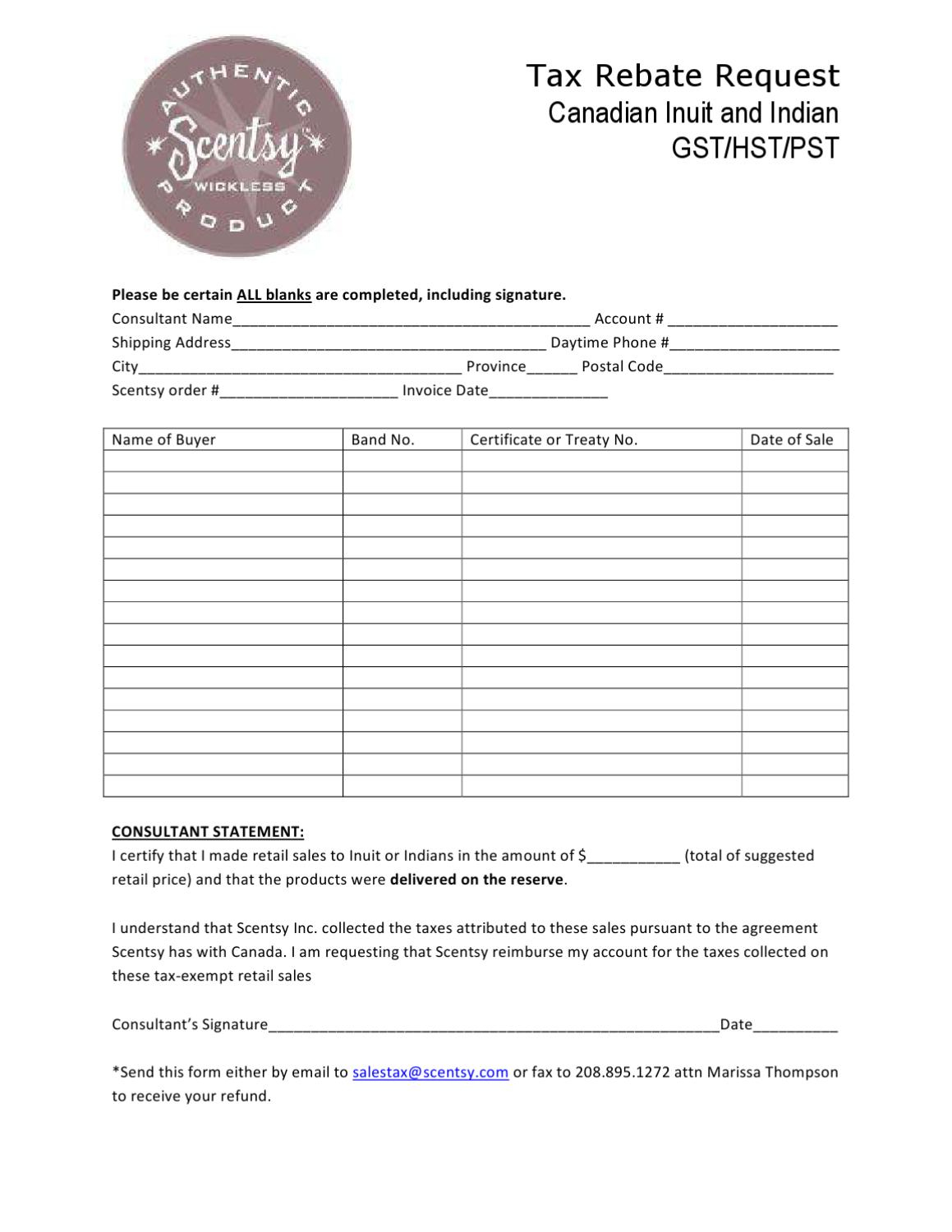 Native Tax Rebate Form (Canada)Natalie Zuidhof - Issuu - Free Printable Scentsy Order Forms