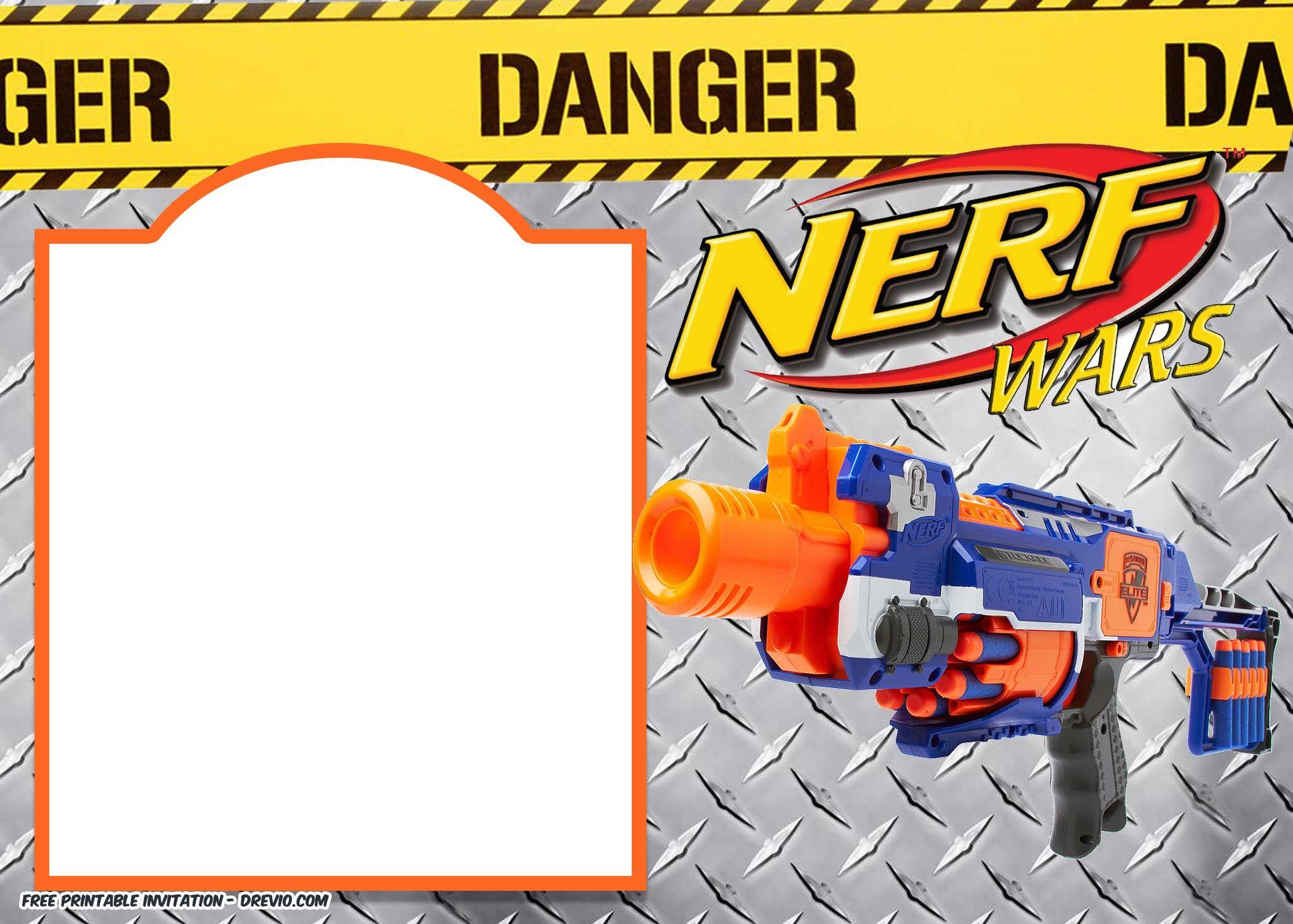 Nerf Gun Party Invitation - Free Printable Nerf Logo