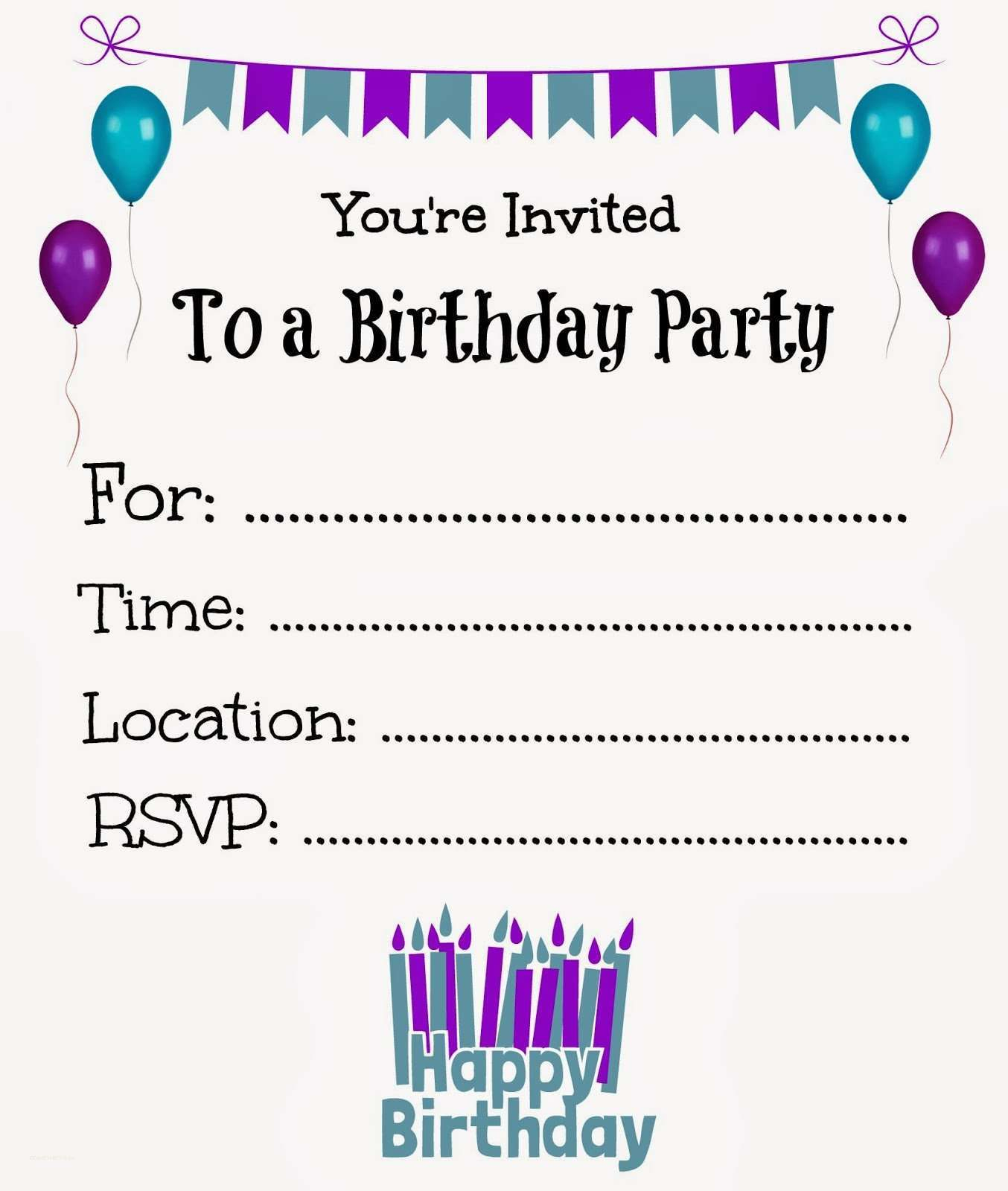 New Free Online Printable Birthday Party Invitations | Holiday - Free Printable Birthday Invitations With Pictures