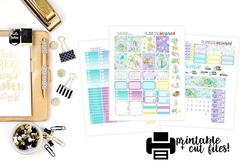 New Free Printable Weekly Sticker Kit- Mermaids! - Planning Inspired - Printable Erin Condren Stickers Free