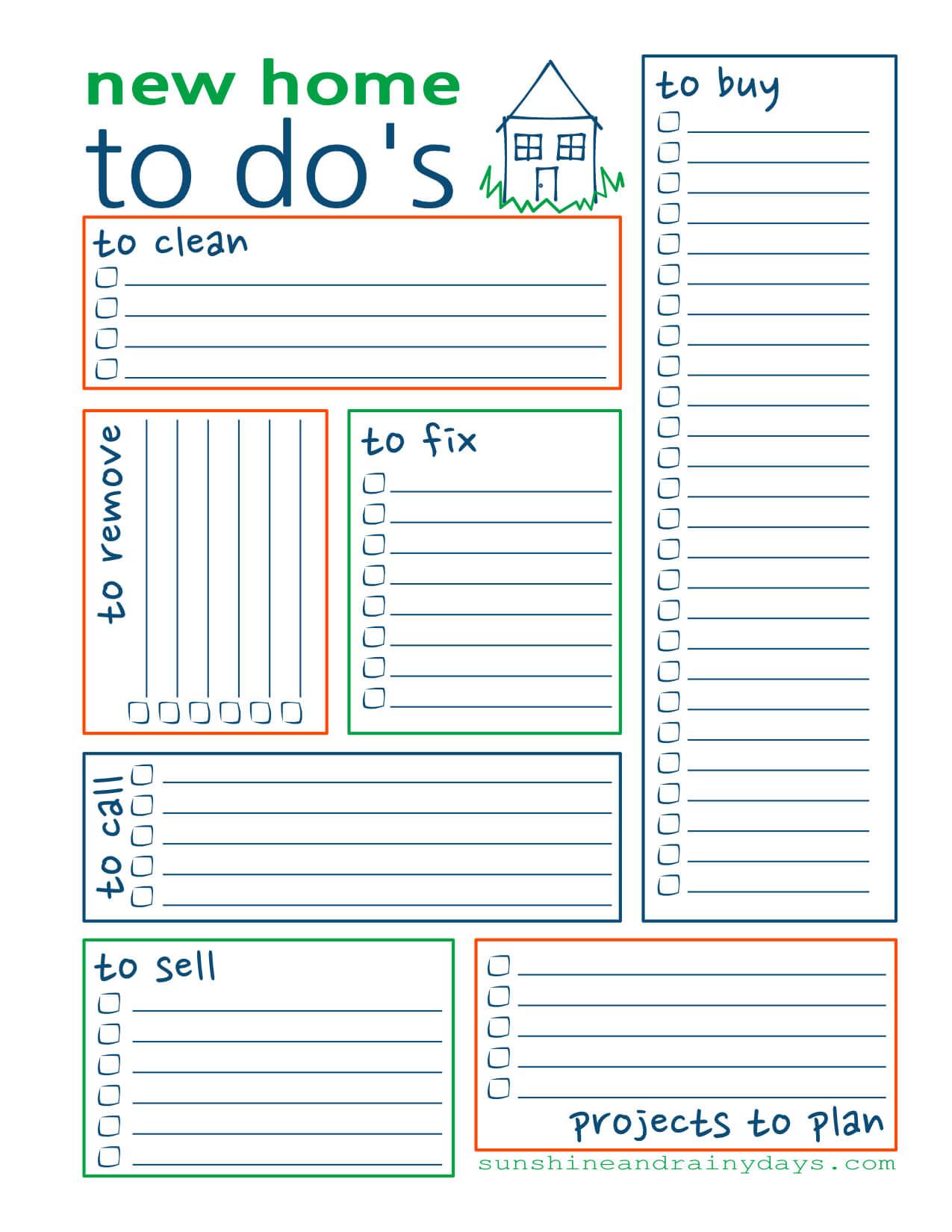 New Home To Do List - Free Printable - Sunshine And Rainy Days - To Do List Free Printable