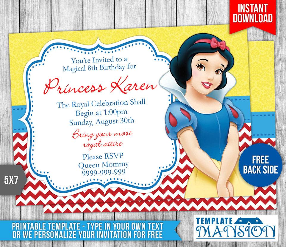 New Snow White Birthday Invitations For Invitation Definition - Snow White Invitations Free Printable