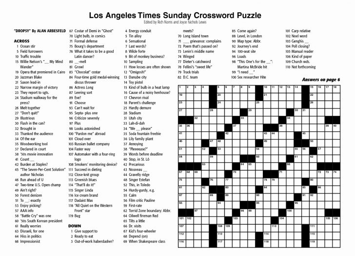 Free Printable Sunday Crossword Puzzles