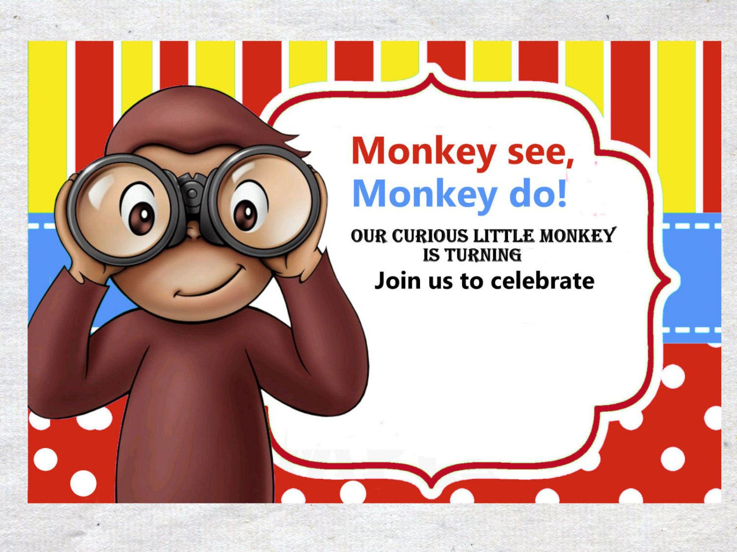 Nice Free Template Free Printable Curious George Colorful Invitation - Free Printable Curious George Invitations