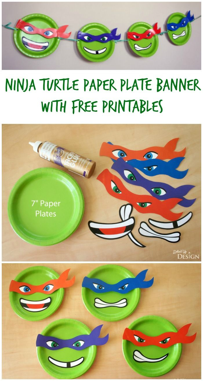 Ninja Turtle Paper Plate Banner With Free Printables | Moms - Free Printable Teenage Mutant Ninja Turtle Cupcake Toppers