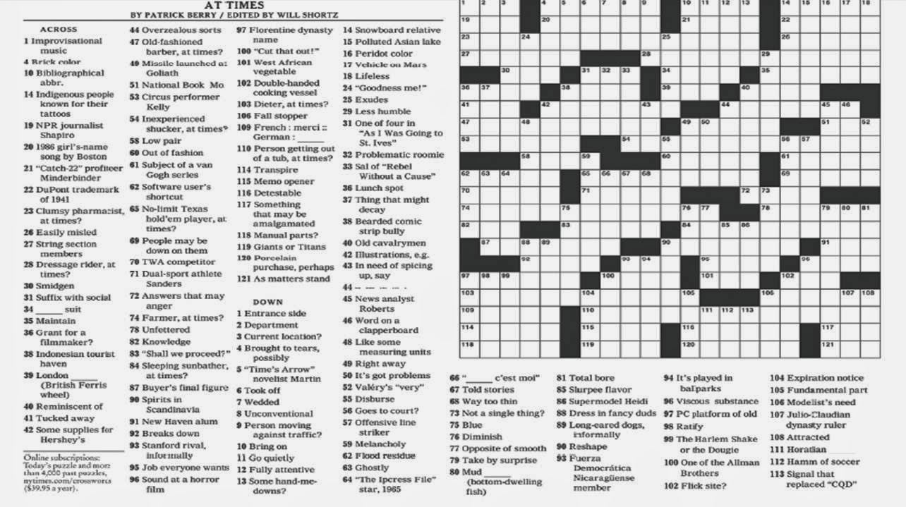 Noli Insipientium Iniurias Pati: New York Times Crossword Clue - New York Times Crossword Printable Free