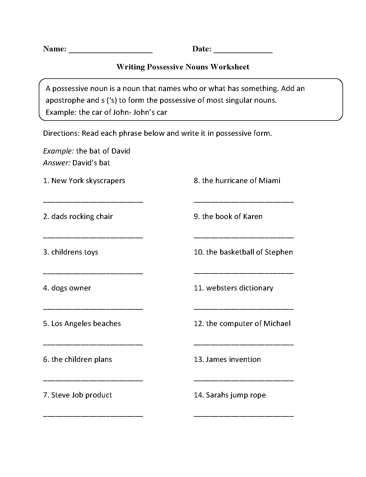 Nouns Worksheets | Possessive Nouns Worksheets - Free Printable Possessive Nouns Worksheets