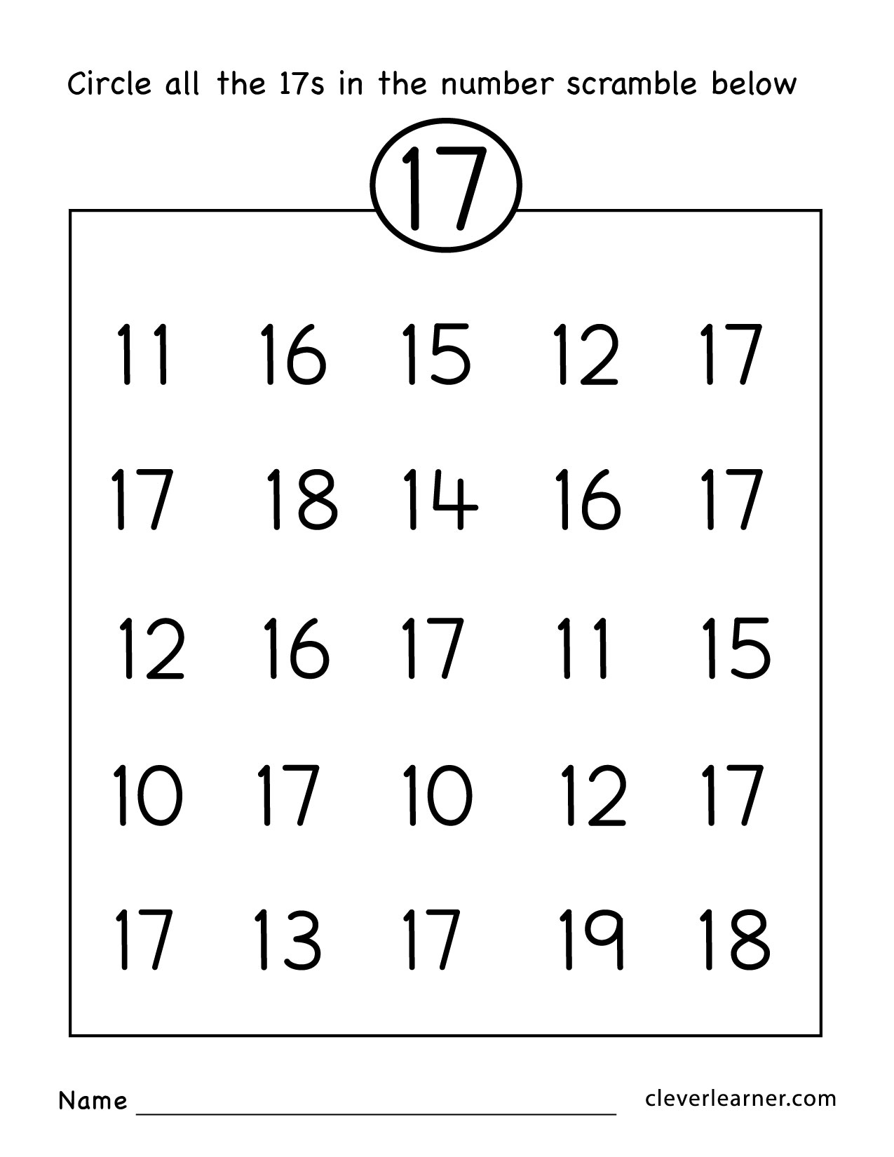 Number 17 Writing, Counting And Identification Printable Worksheets - Free Printable Number Worksheets For Kindergarten