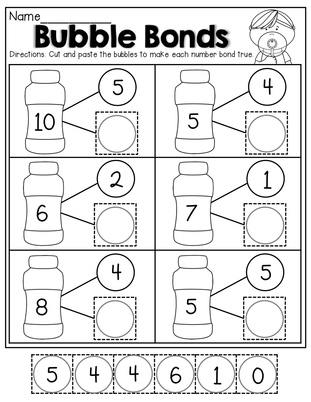 Number Bubble Bonds (Cut And Paste) | Kindergarten Activities - Free Printable Number Bond Template