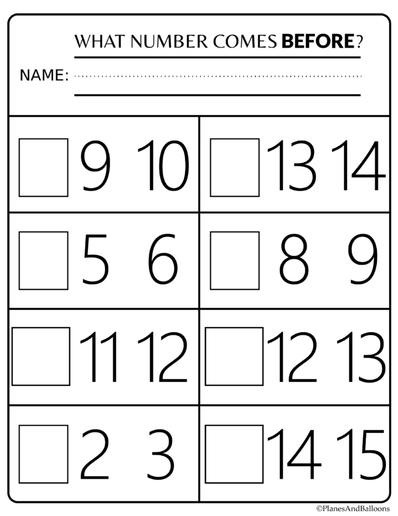 Number Order Kindergarten Free Printable Worksheets: Numbers 1-20 - Free Printable Activities