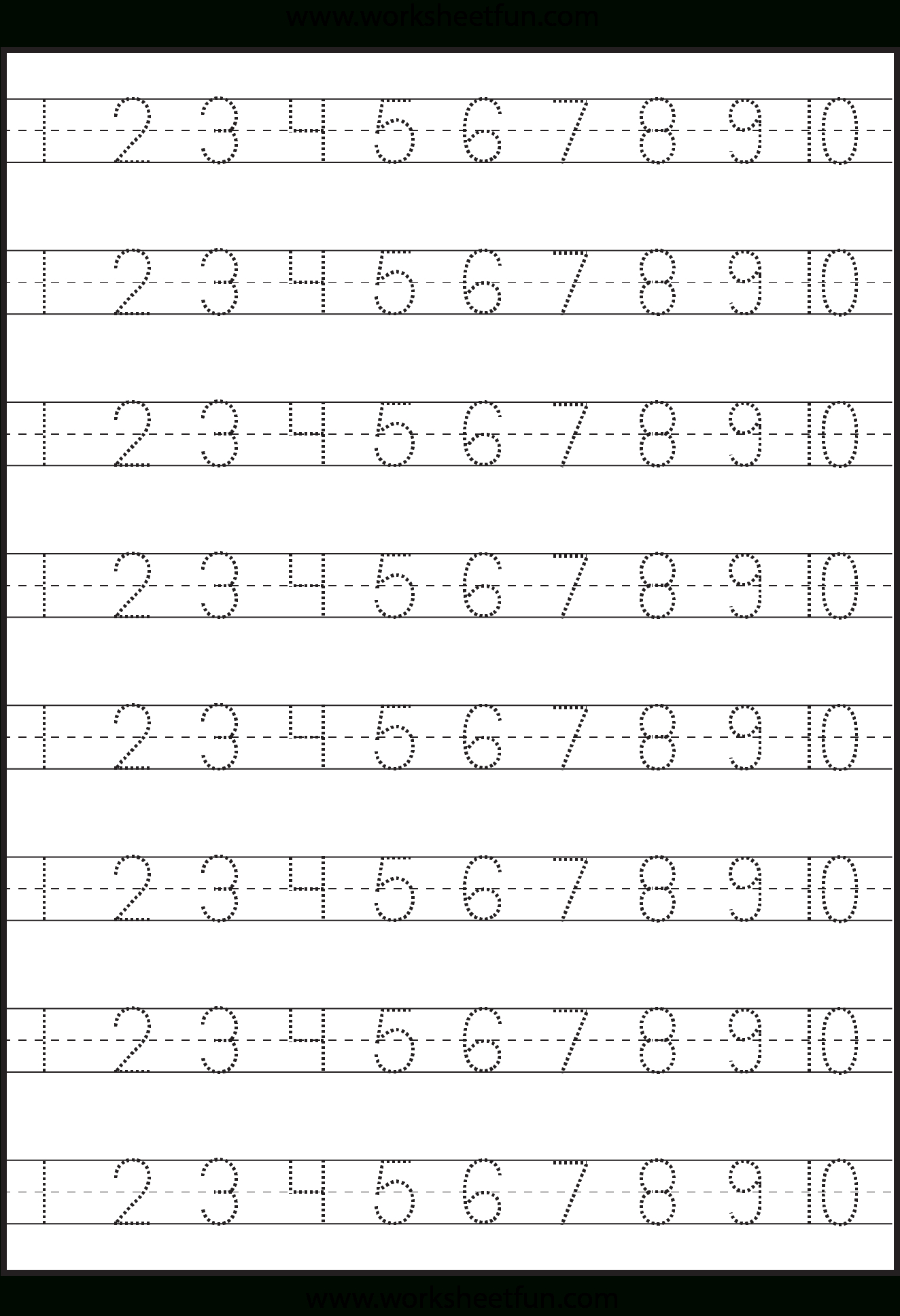 Number Tracing 1-10 - Worksheet | Kindergarten Worksheets - Free Printable Counting Worksheets 1 10