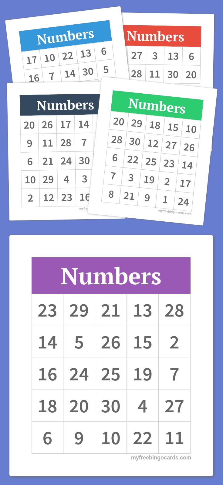 Numbers Bingo   Preschool   Bingo, Bingo Cards, Free Bingo Cards - Free Printable Bingo Cards With Numbers