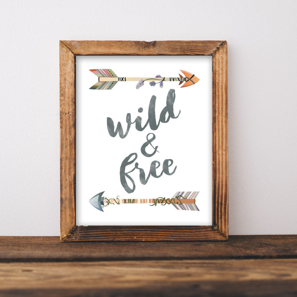 Nursery Printable Wall Art Wild And Free Printable Quote | Etsy - Free Printable Wall Art Quotes