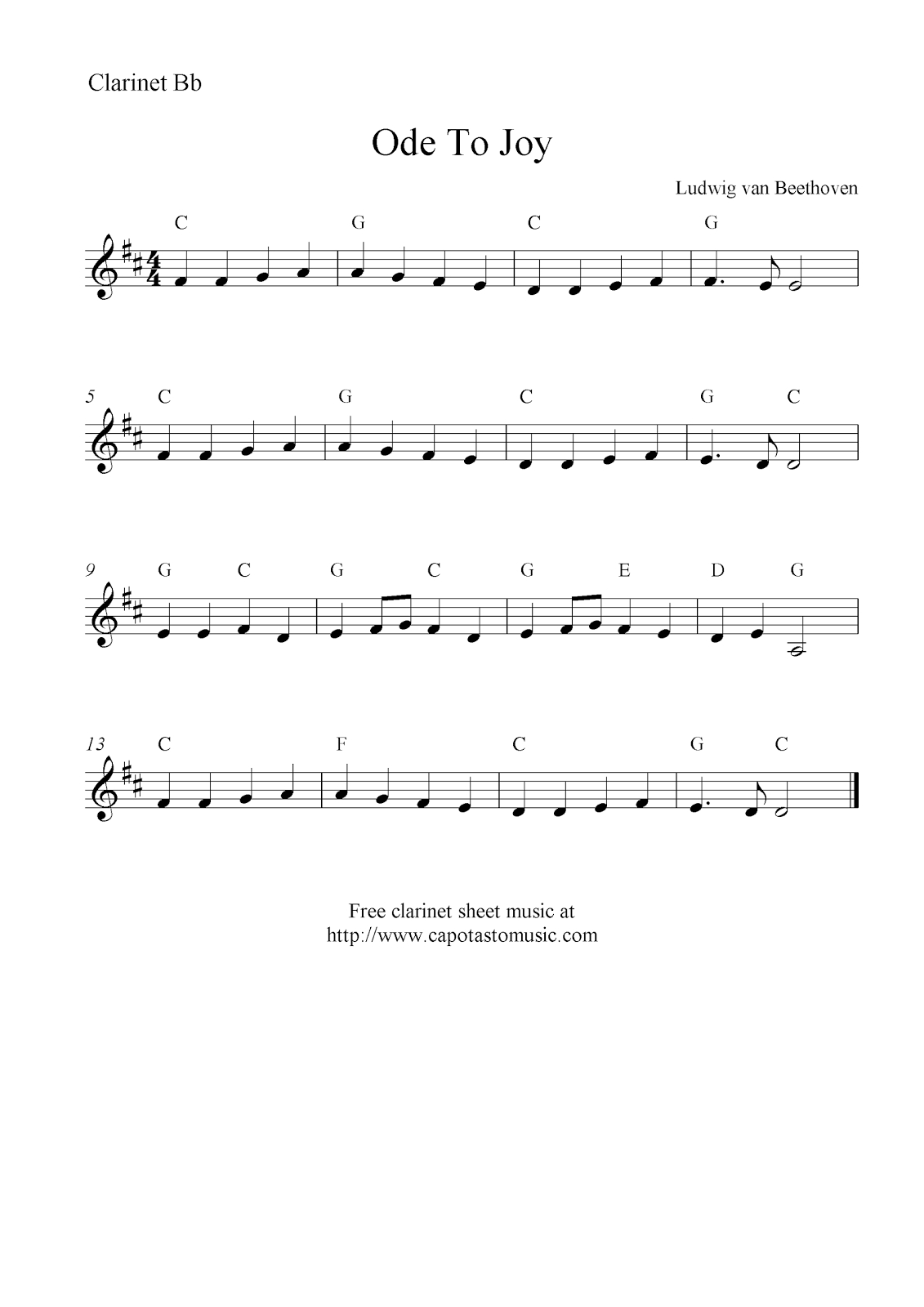 Ode To Joybeethoven, Free Clarinet Sheet Music Notes - Free Printable Christmas Sheet Music For Clarinet