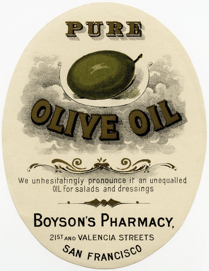 Old Design Shop ~ Free Digital Image: Vintage Boyson's Pharmacy - Free Printable Olive Oil Labels