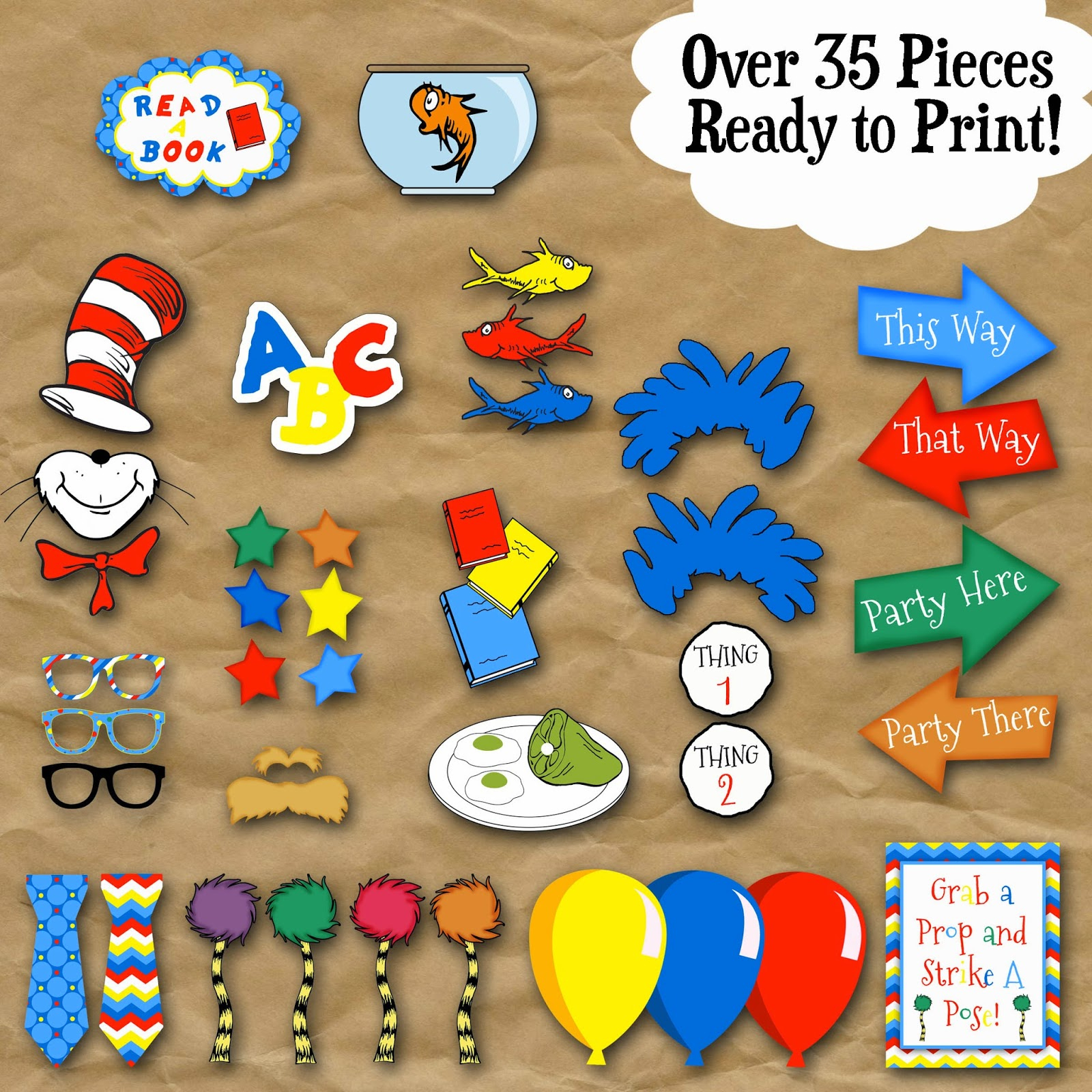 Old Market Corner: Dr. Seuss Photo Booth Printable Props - Free Printable Dr Seuss Photo Props