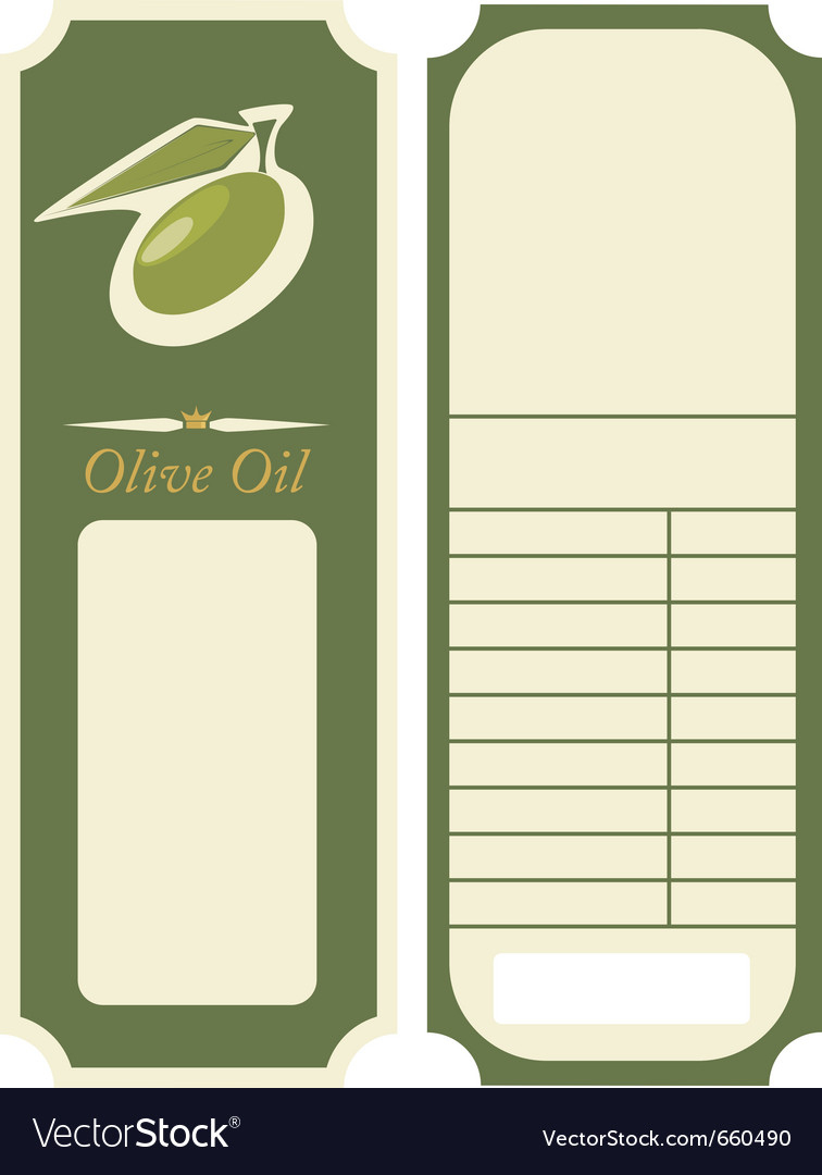 Olive Oil Label Template Royalty Free Vector Image - Free Printable Olive Oil Labels