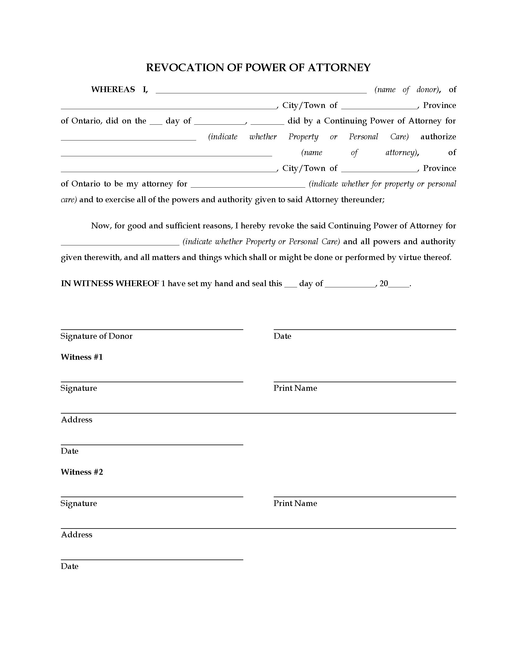 Ontario Revocation Of Power Of Attorney | Legal Forms And Business - Free Printable Revocation Of Power Of Attorney Form